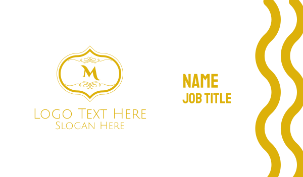 pricey - Gold Detailed Lettermark Business card horizontal design