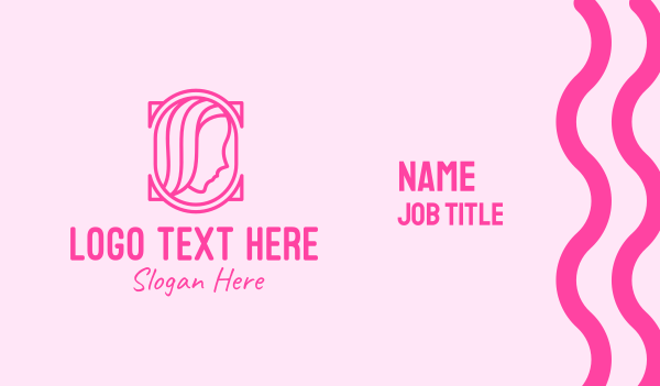 mirror - Pink Beautiful Woman Mirror Business card horizontal design