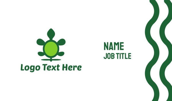 tortoise - Green Flying Turtle Business card horizontal design
