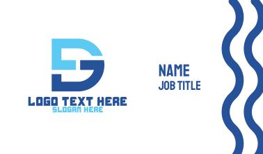Blue DG Monogram Business Card