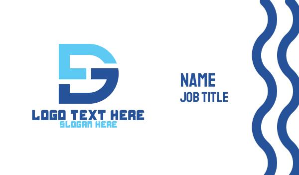 interior designing - Blue DG Monogram Business card horizontal design