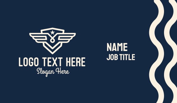 shield - White Wing Star Badge Business card horizontal design