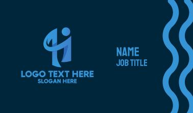 Blue Human Letter H Business Card