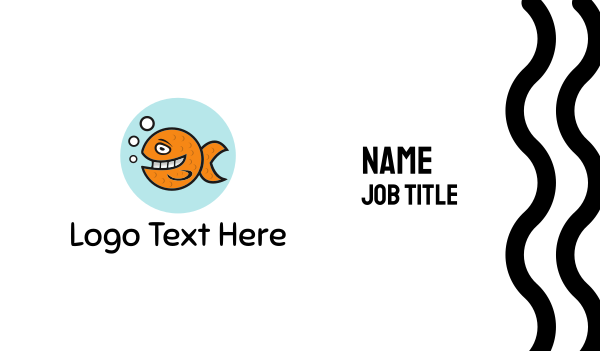 fishbowl - Happy Goldfish Fish Business card horizontal design