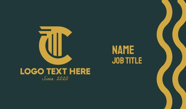 concrete - Gold Letter C Business card horizontal design