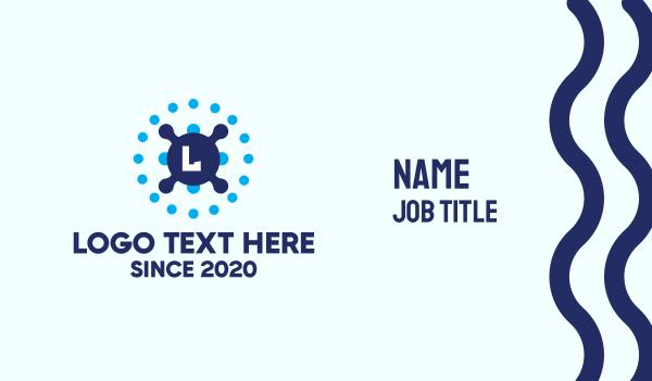 webhosting - Tech Dot Lettermark Business card horizontal design