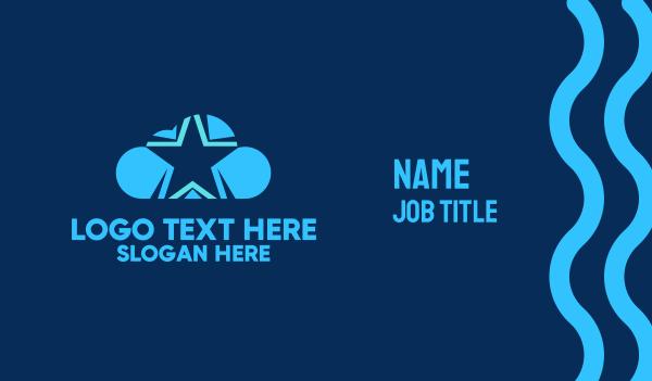 rain - Blue Star Cloud Business card horizontal design
