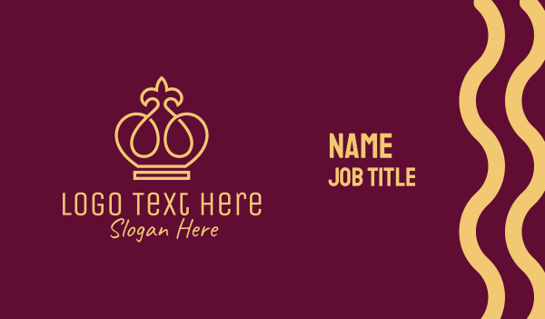 hospitality - Gold Flower Crown Business card horizontal design