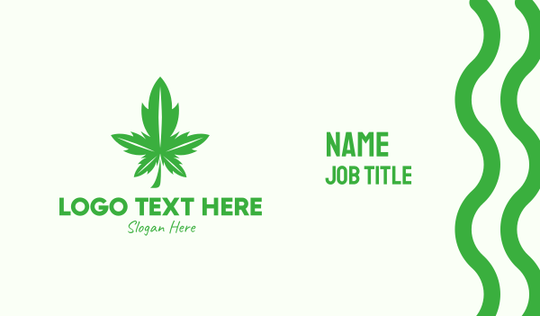 eliquid - Green Leaf Cannabis Business card horizontal design