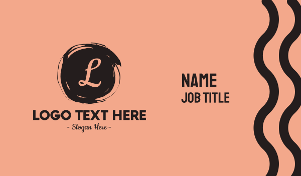 beauty - Painted Cursive Lettermark Business card horizontal design