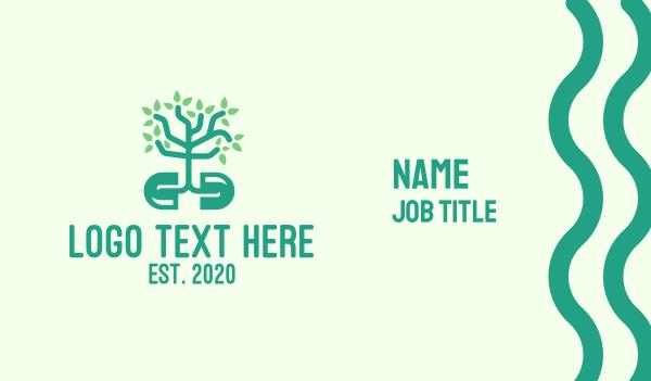 caplet - Green Organic Plant Supplement Business card horizontal design