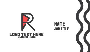 Geometric R Outline Business Card