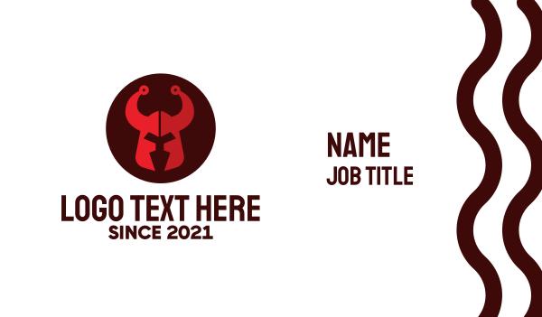 barbarian - Red Barbarian Helmet Business card horizontal design
