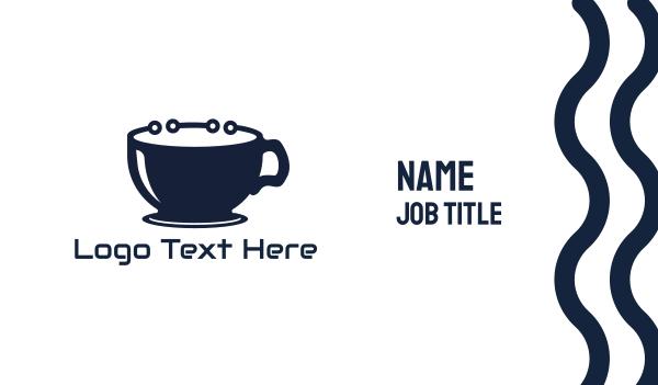 internet cafe - Coffee Mug Circuitry Business card horizontal design