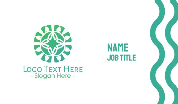 green star - Green Star Flower Pattern Business card horizontal design