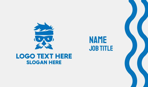 old man - Blue Old Man Business card horizontal design