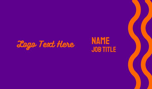 70s - Purple & Orange Wordmark Business card horizontal design