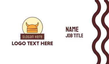 Viking Helmet Horn Burger Buns Business Card