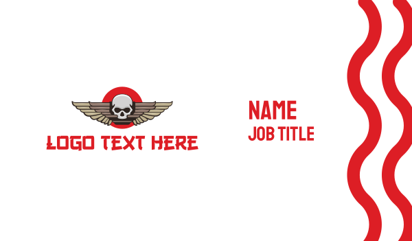corps - Japanese Skull Wing Business card horizontal design
