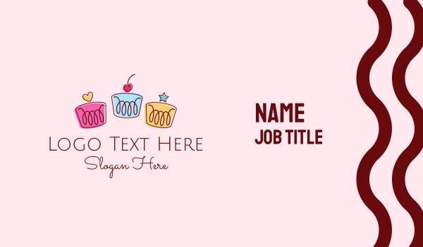 Cute Birthday Cupcakes Business Card