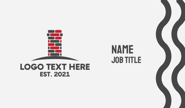 masonry - Brick Chimney  Business card horizontal design