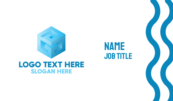 fabrication - Blue Cube G Business card horizontal design