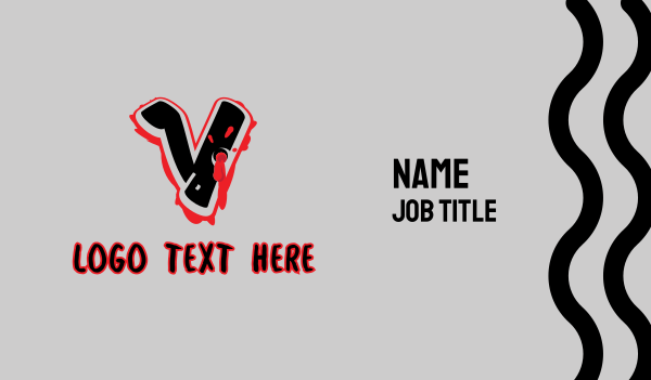 bullet hole - Splatter Graffiti Letter V Business card horizontal design