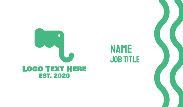 elephant - Green Elephant Letter M Business card horizontal design