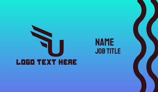 letter u - Modern U Gaming Business card horizontal design
