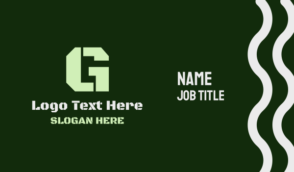 troop - Military Green Letter G Business card horizontal design