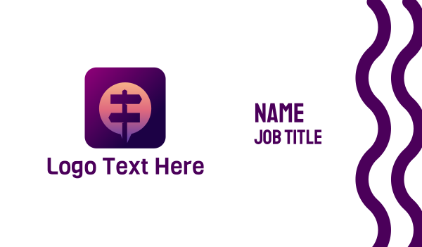 maroon - Street Sign Messaging App Business card horizontal design