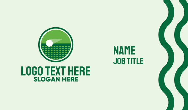 tennis equipment - Green Tennis Court  Business card horizontal design