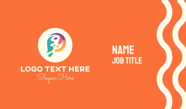 fluid - Colorful Paint Letter P Business card horizontal design