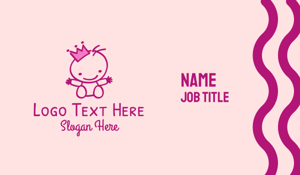 stuffed toy - Pink Baby Princess Business card horizontal design