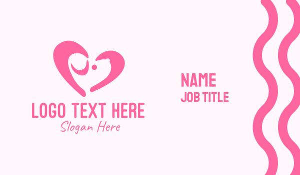 pet lover - Pink Dog Heart Business card horizontal design