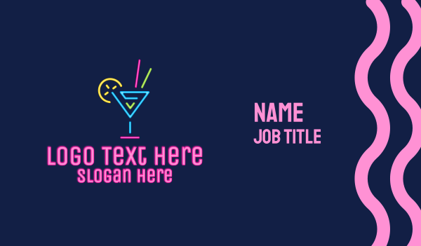 happy hour - Tipsy Neon Cocktail Drink Business card horizontal design