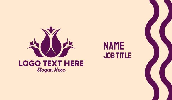 flowers - Purple Tulip Bouquet  Business card horizontal design
