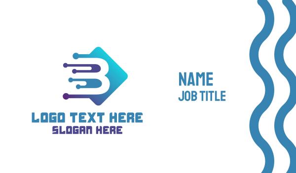 webhosting - Modern Tech Letter B Business card horizontal design