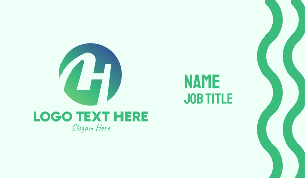 merchandise - Green Letter H Business card horizontal design