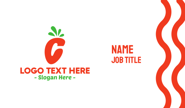 fastfood - Carrot Letter C Business card horizontal design