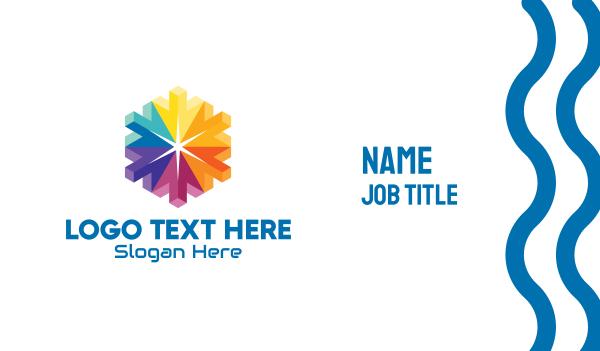 geometrical - 3D Colorful Hexagon Cursors Business card horizontal design