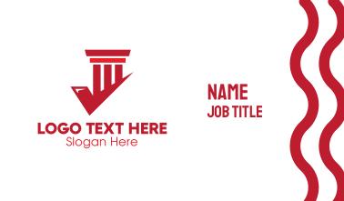 Red Check Pillar Business Card