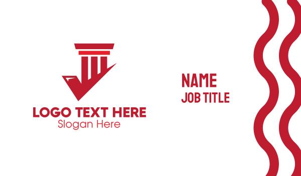 verify - Red Check Pillar Business card horizontal design