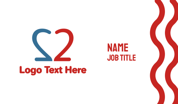 dating website - Double Number 2  Business card horizontal design