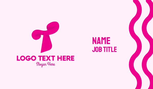 letter t - Pink Fashion Letter T Business card horizontal design