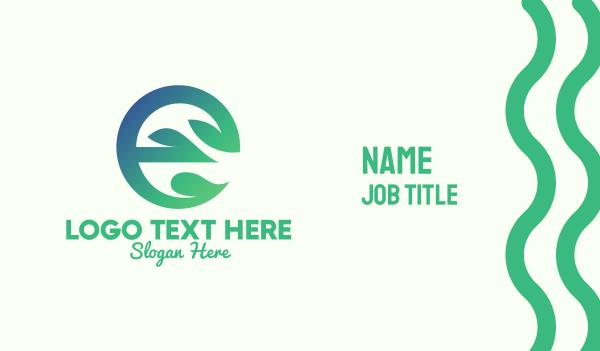 healthy food - Gradient Plant Letter E Business card horizontal design