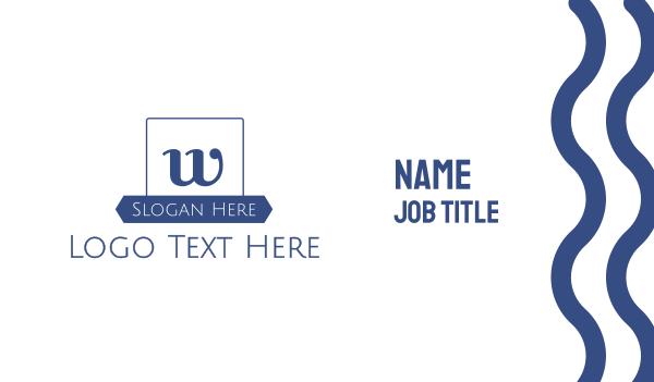 university - Blue W Emblem Business card horizontal design