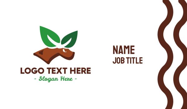 barasingha - Eco Leaf Elk Business card horizontal design