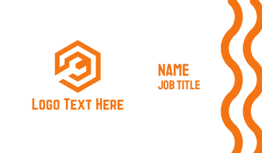 Orange Mechanical Wrench Business Card