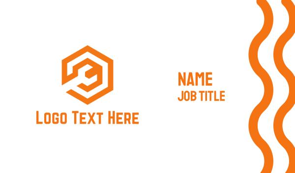 maintenance - Orange Mechanical Wrench Business card horizontal design